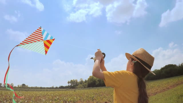beautiful little girl flying a kite. happy memories of her young days - only girls stock videos & royalty-free footage