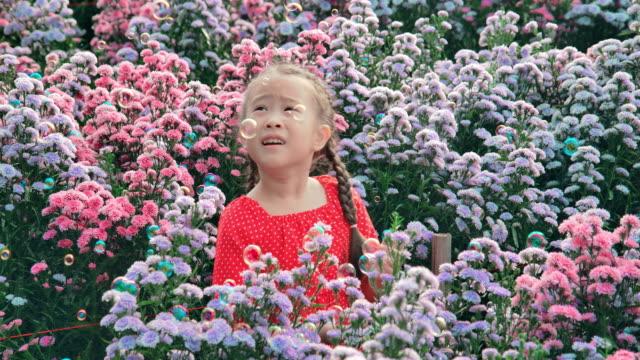 slo mo beautiful little girl in flower field - single flower stock videos & royalty-free footage