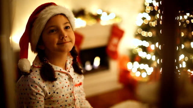 beautiful little girl waiting for santa - hot chocolate stock videos & royalty-free footage