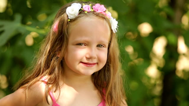 beautiful little girl with floral headband - human body part stock videos & royalty-free footage