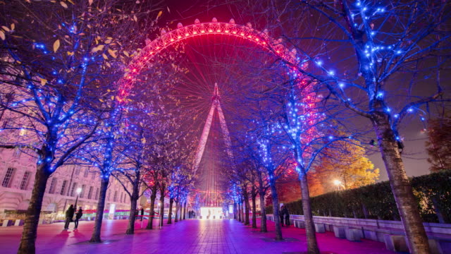 t/l beautiful london eye at night - ferris wheel stock videos & royalty-free footage