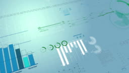 Beautiful looped 3d animation of Stock Market Financial Figures and Diagrams Growing on Digital background. HD 1080. Loop.
