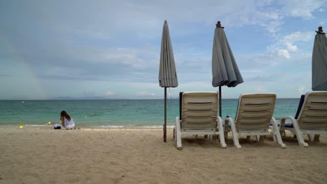 Beautiful luxury umbrella and chair on beach