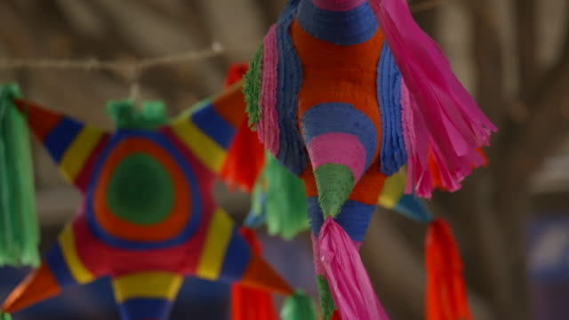 beautiful mexican christmas piñatas - mexican culture stock videos & royalty-free footage