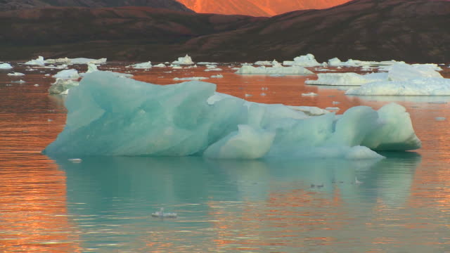 beautiful midnight sun with blue icebergs in greenland - greenland stock videos & royalty-free footage