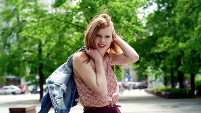 Beautiful model girl walking in the park