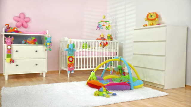 hd dolly: beautiful modern nursery room - barnkammare bildbanksvideor och videomaterial från bakom kulisserna