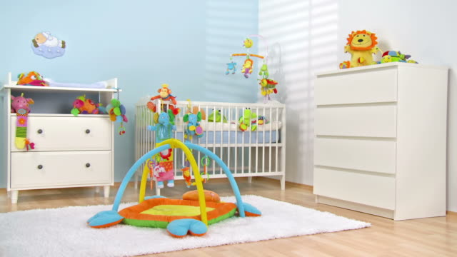 hd dolly: beautiful modern nursery room - nursery bedroom stock videos & royalty-free footage