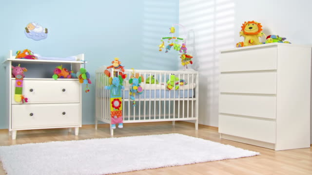hd dolly: beautiful modern nursery - nursery bedroom stock videos & royalty-free footage