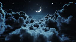 Beautiful Moon in the Skies. Flying Over the Infinite Clouds with the Night Moon Shining Seamless. Looped 3d Animation with Moonlight Over the Horizon.