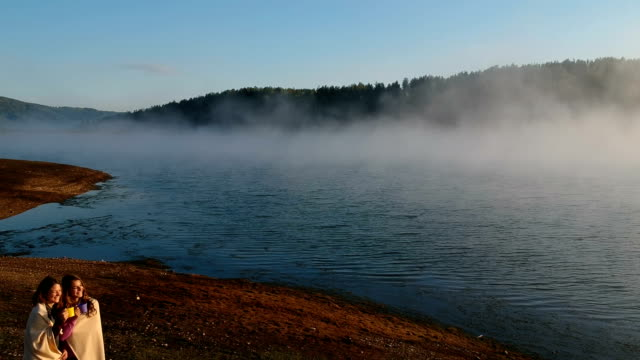 beautiful morning on lake.drone footage - tazza video stock e b–roll