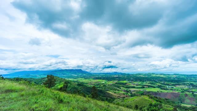 schöner berg mit beweglichen wolken, luftzeitraffer-video - naturwunder stock-videos und b-roll-filmmaterial
