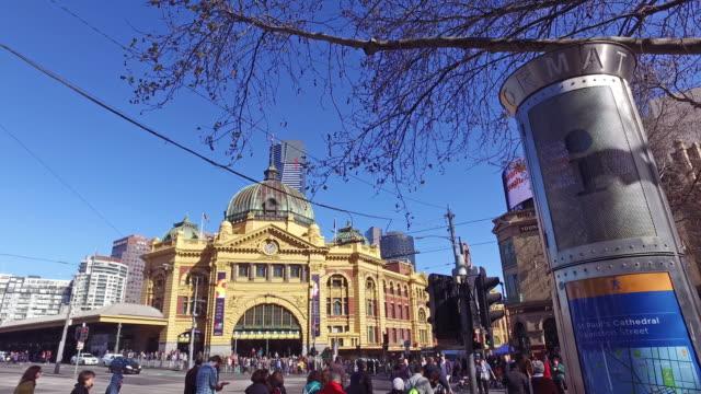 Beautiful movement camera tracking at Flinder street station, Australia.