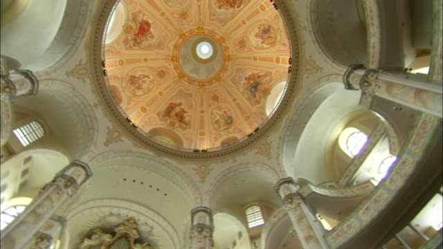 beautiful murals adorn the interior dome of the dresden frauenkirche in germany. available in hd. - dresden frauenkirche stock videos & royalty-free footage