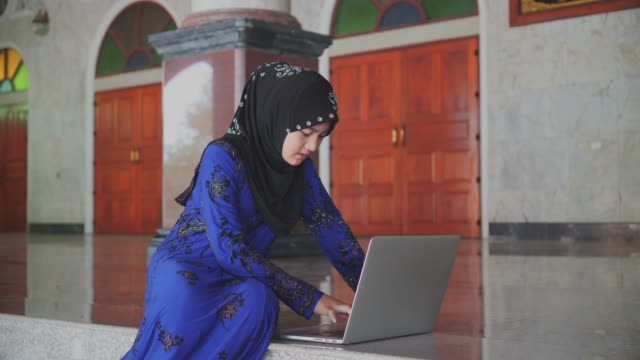 beautiful muslim girl using laptop computer - women doing farm animals stock videos and b-roll footage