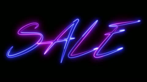 stockvideo's en b-roll-footage met mooie neon titels-sale voor korting dagen en zwarte vrijdag. - tekst