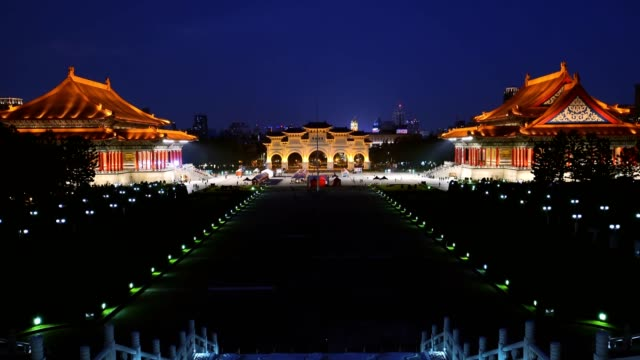 beautiful night view of over the national taiwan democracy square from chiang kai-shek memorial hall - chiang kaishek memorial hall stock videos & royalty-free footage