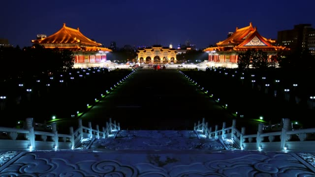 Beautiful night view of over the National Taiwan Democracy Square from Chiang Kai-Shek Memorial Hall