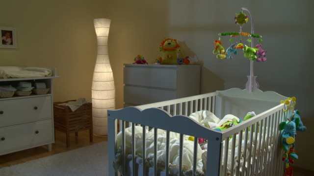 hd dolly: beautiful nursery room at night - nursery bedroom stock videos & royalty-free footage