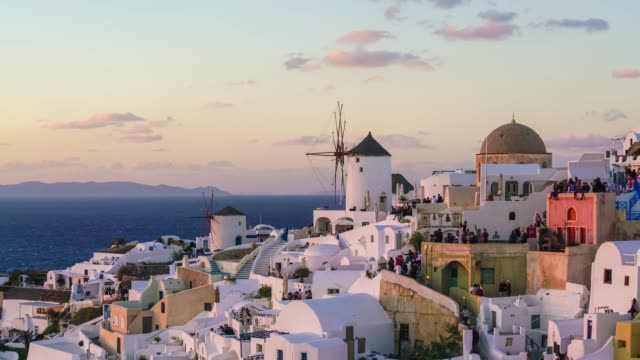 beautiful oia town on santorini island - oia santorini stock videos & royalty-free footage