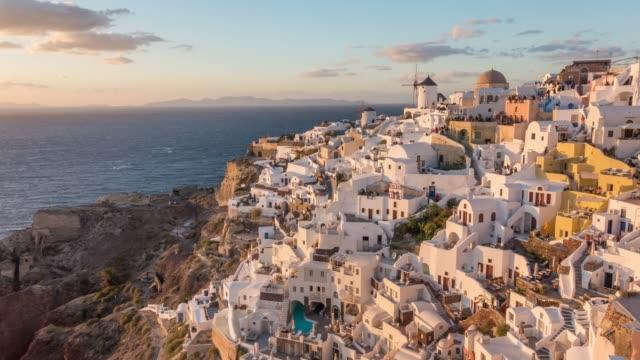 beautiful oia town on santorini island - oia santorini stock videos & royalty-free footage