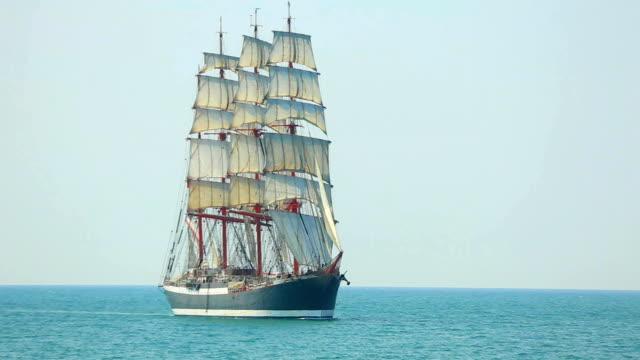 beautiful old sailing ship under full sail - mast sailing stock videos & royalty-free footage
