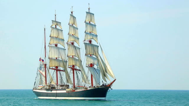 beautiful old sailing ship under full sail - sailing ship stock videos & royalty-free footage