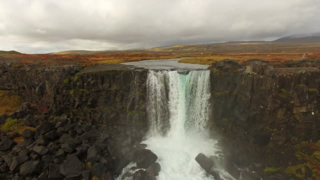aerial beautiful oxarafoss waterfall - unesco world heritage site stock videos & royalty-free footage