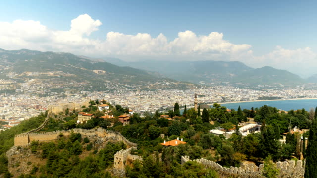beautiful panaromic view from alanya castle with background of alanya city - anatolia stock videos and b-roll footage