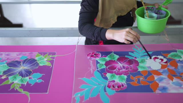beautiful patterns made on batik - batik stock videos and b-roll footage