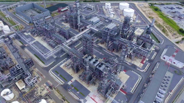 beautiful petroleum refinery  plant with complex pipeline. - pipeline stock videos and b-roll footage