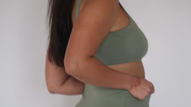 beautiful plus size woman in underwear - body positive stock videos & royalty-free footage