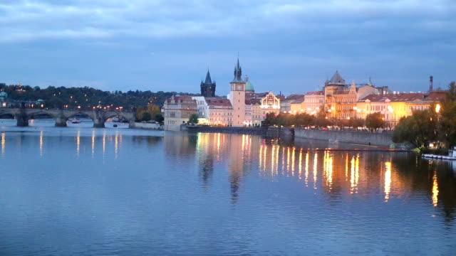 beautiful prague at night - vltava river stock videos & royalty-free footage