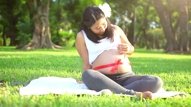 beautiful pregnant asian woman relaxing in the park with red ribbon - animal abdomen stock videos and b-roll footage