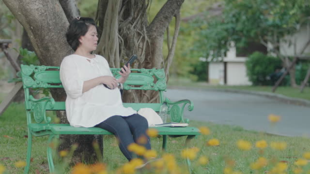 beautiful pregnant woman enjoying public park. - touchpad stock videos & royalty-free footage