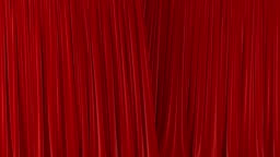 Beautiful Red Waving Curtains Opening and Closing on Green Screen. Abstract 3d Animation of Silk Cloth Revealing Background with Alpha Matte.