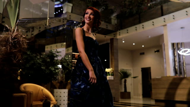beautiful redhead woman in blue dress dancing - dress stock videos & royalty-free footage