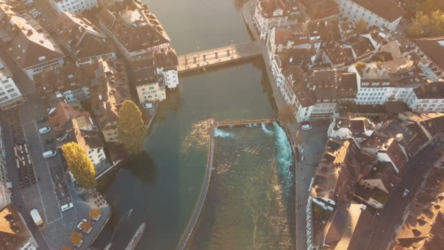 beautiful reuss river in lucerne city - switzerland点の映像素材/bロール