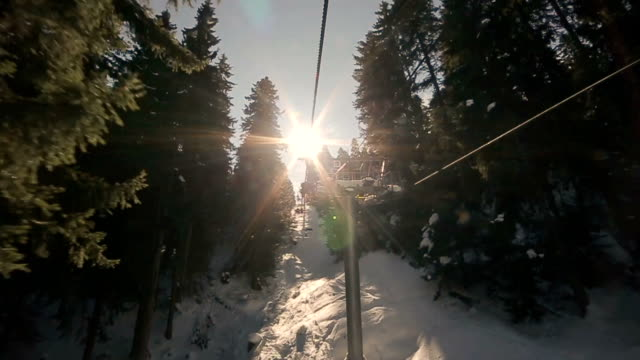 beautiful ride on the mountain with a cable car - ski lift stock videos & royalty-free footage