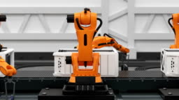 Beautiful Robotic Arms Assembling Computers On Conveyor Belt. Advanced Automated Process. 3d Animation. Business and Technology Concept.
