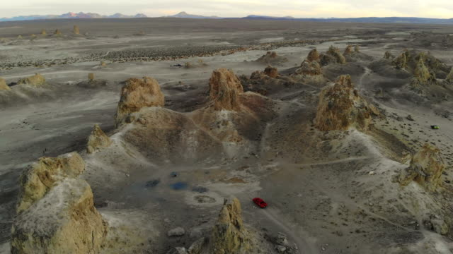 Beautiful rock formations in California seen from above with a drone.