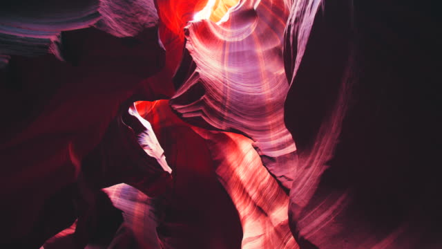 ws beautiful rock formations of antelope canyon - naturwunder stock-videos und b-roll-filmmaterial