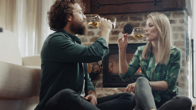 beautiful romantic couple drinking white wine - white wine stock videos & royalty-free footage
