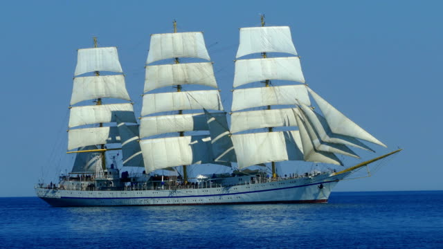beautiful sailboat on all sails filled with wind - sailing ship stock videos & royalty-free footage