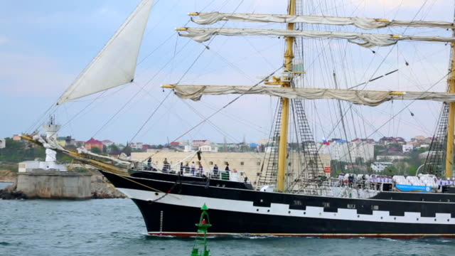 beautiful sailboat out to sea - sevastopol crimea stock videos and b-roll footage