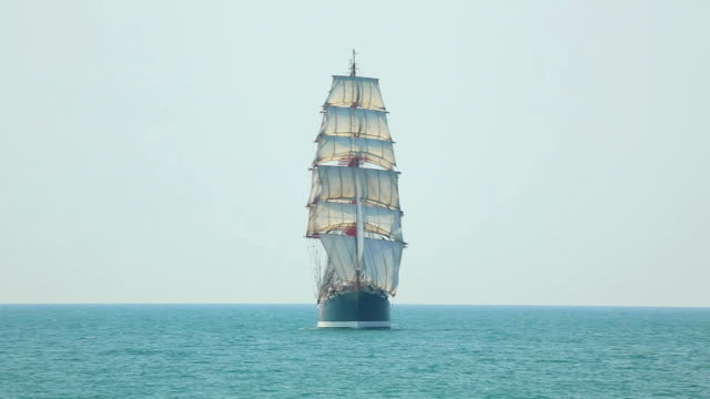 beautiful sailing barque in full sail - ship stock videos & royalty-free footage