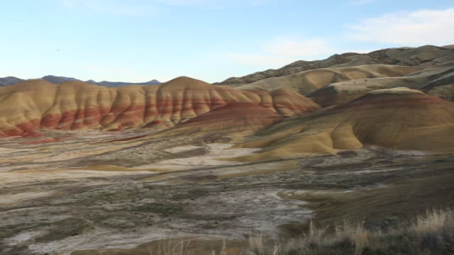 a beautiful scene from the painted hills of oregon on a bright sunny day. - hügelkette stock-videos und b-roll-filmmaterial