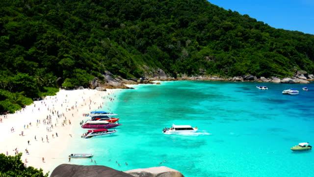 vídeos y material grabado en eventos de stock de bella escena de muchas personas en la playa de parque tropical, isla similan, tailandia - mar de andamán