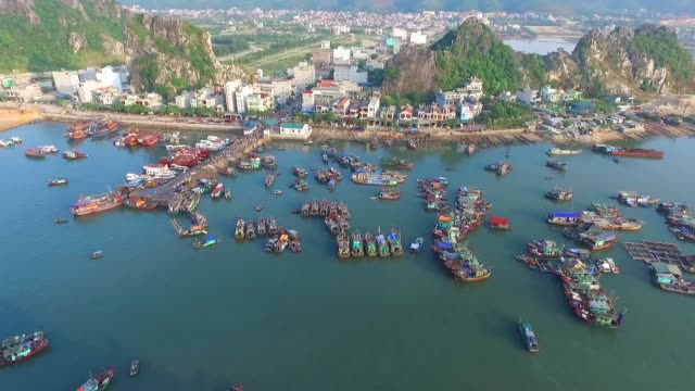 beautiful sea landscape from drone in ha long bay, vietnam. halongbay is world natural heritage of quang ninh, vietnam. - halong bay stock videos and b-roll footage