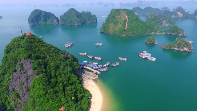 Beautiful sea landscape from drone in Ha Long Bay, Vietnam. Halongbay is World Natural Heritage of Quang Ninh, Vietnam.